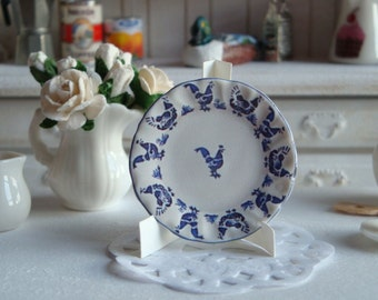 Blue Hens Plate for Dollhouse