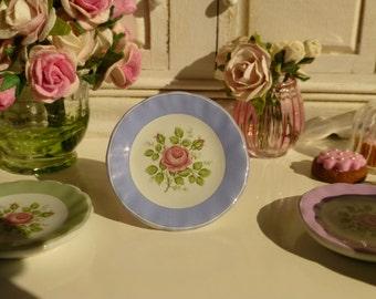 Vintage Rose Blue Plate for Dollhouse