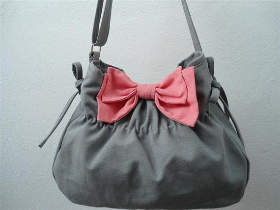 Gray bag with pink Bow/Purse/shoulder bag / Diaper bag/ by ...