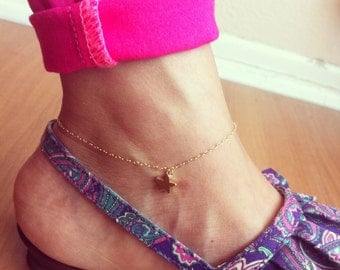 Star anklet, 14K gold filled, delicate and cute.