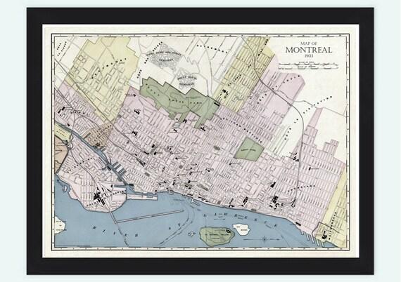 old map of montreal canada 1903 vintage montreal by oldcityprints. Black Bedroom Furniture Sets. Home Design Ideas