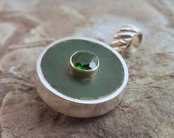 Jade pendant, reversible, chrome diopside, sapphire necklace, jade necklace, simple necklace, green stone pendant, green stone necklace