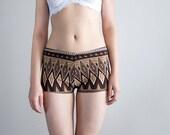 Geometric Brown. Women's Boy Shorts. Girls Shorts. Ethnic Inspired Print. Bohemian Earthy - TatianasThreads