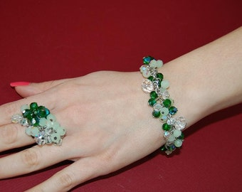 Handmade Green Bead Bracelet and Ring Set