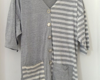 Grey Stripey Vintage Top