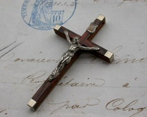 French Vintage cross lot 2 crucifix in rosetree wood wooden crucifix metalcross jesus stamped France