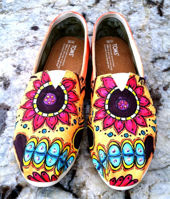 Items similar to Made to Order Custom Painted TOMS Sugar ...
