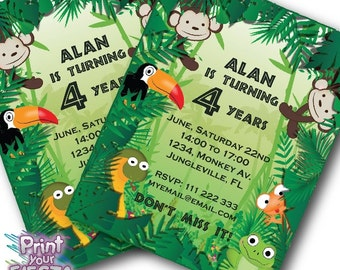Print Your Fiesta editable digital party cards - Jungle Party Invitation Cards / Tags - PDF file, Free shipping, monkey, snake, frog, tucan