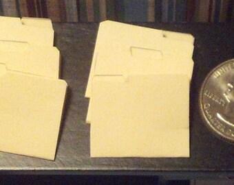 Dollhouse Miniature Office 6 Manilla File Folders 1:12 One Inch Scale  D46