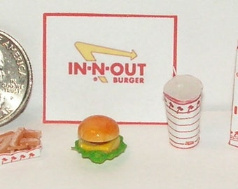 Dollhouse Miniature  Take Out Food Combo Set IN 1:12