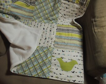 Patchwork Baby quilt - Great Baby Shower Gift - Bird in the Hand, appliqued quilt