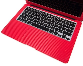 "Keyboard Track Pad for Apple Macbook Air 13"" 13.3"" Model A1466 A1369 2010-2015 New Style Red Carbon Fiber Protector Skin Decal 2 pcs"