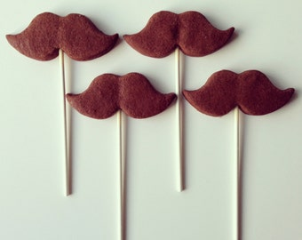 Chocolate sugar cookie pop mustaches (not iced)