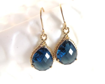 Sapphire Blue Earrings Gold Earrings Blue Bridesmaid Earrings Something Blue Wedding Jewelry Crystal Earrings Bridal Jewelry