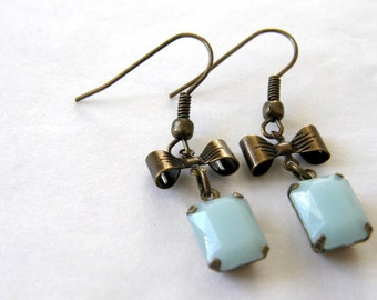 Light Blue Faceted Stone Charm and Bow Dangle Earrings, Bridesmaid Earrings, Friend Gift, Birthday Gift