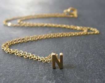 CUSTOM Initial Letter Gold Necklace, Personalized Necklace, Simple, Modern, Everyday, Friend Gift