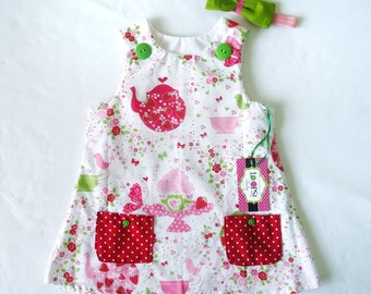 Strawberry Tea Party Baby Girl Dress - Toddler Dress - Strawberry Birthday Outfit - Baby Dress 6M - 3T