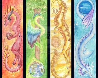 "Elemental Dragons 8"" x 10"" Artist Print - Made to Order"