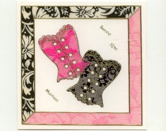 "Mother's day card ""pink and black corset"""