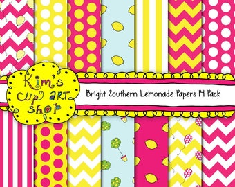 Lemonade Digital Paper Pack, digital background papers for stationery, card making, scrapbooking, preppy, pink, yellow
