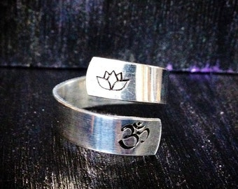 Spiral Ring, Personalized Ring, Engraved ring, Adjustable, yoga ring, Ohm ring, music ring, peace ring, yin yang  SPRALS01