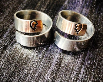 Best friends ring, Broken Heart ring, Roller Derby Ring, Derby Wife Ring, Spiral Ring, Personalized Ring, Engraved ring, Adjustable SPRALS02