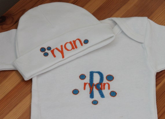 Personalized Embroidered Baby Onesie and Cap - Block and Dots Monogram