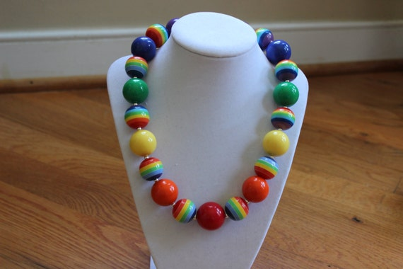 rainbow chunky bubblegum bead necklace rainbow necklace girls necklace ...