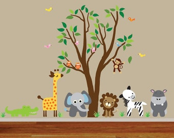 Childrens Tree Wall Fabric Decal Jungle Wall Decal - 987