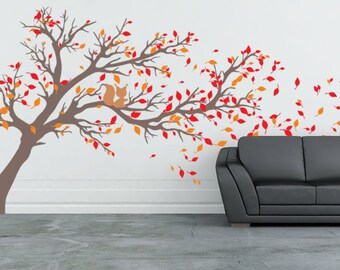 "Tree with leaves blowing off Vinyl Wall Decal 80""high x133wide""- FREE SHIPPING"