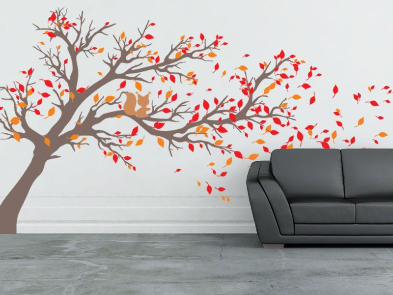 Tree With Leaves Blowing Off Vinyl Wall Decal 80high