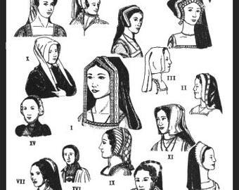 PP52 -  Tudor Era Headdresses, C. 1490-1580 A.D.  Sewing Pattern by PeriodPatterns