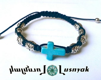 CROSS Shamballa Bracelet with Natural Stones and Metal beads for men and women, guy and girl, stackable and adjustable Lusnyak