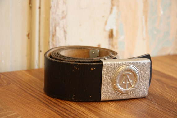 Black East German Leather Army Belt