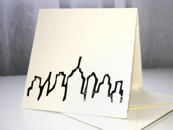 Philly city skyline hand stamped greeting card