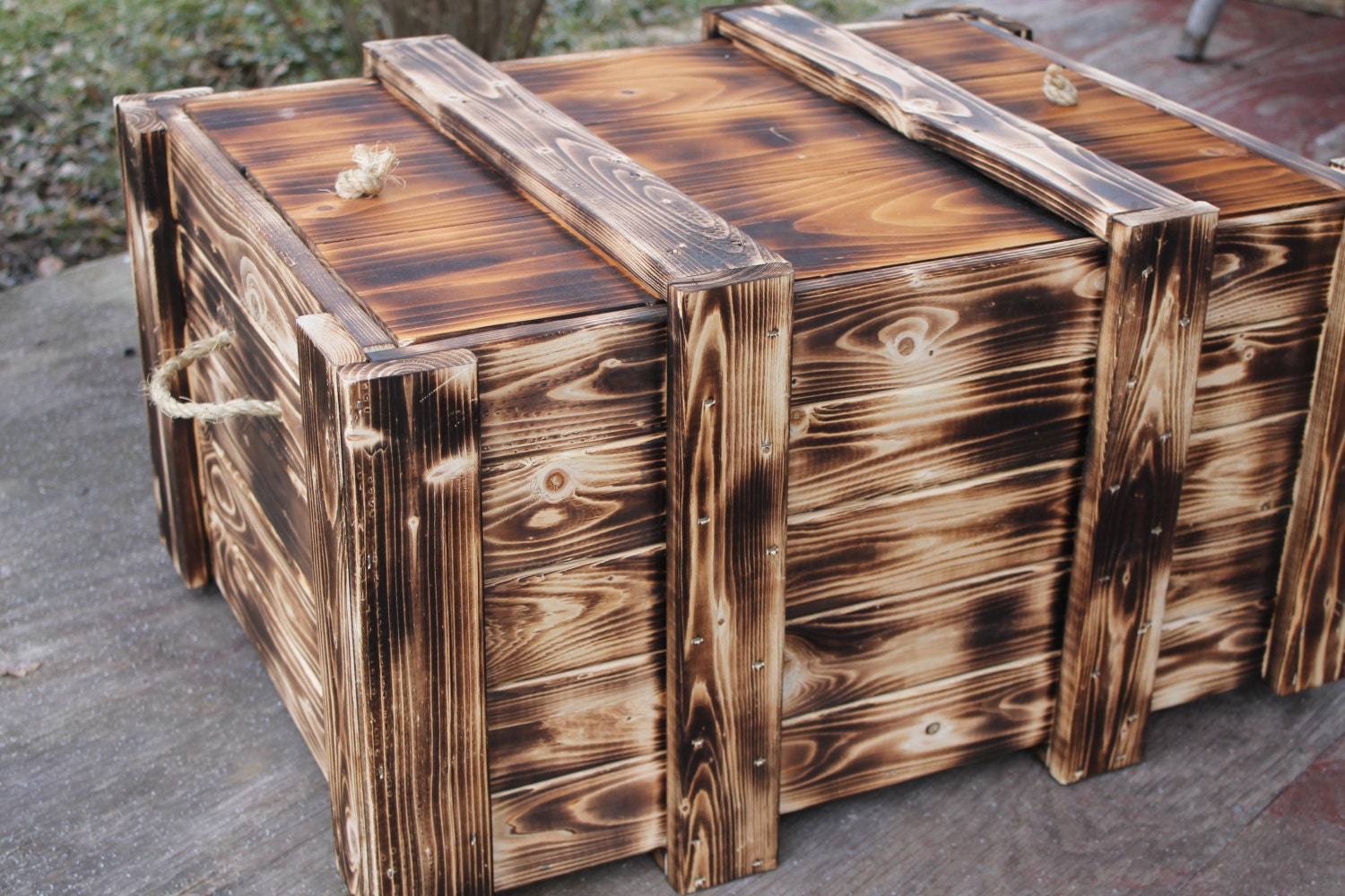 wood crate handmade foot locker toy box storage by jbakerdesign. Black Bedroom Furniture Sets. Home Design Ideas