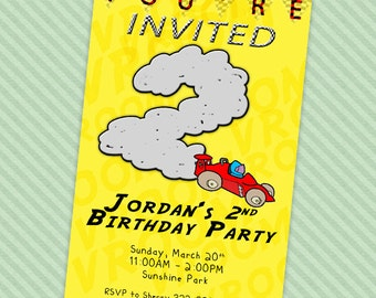Race Car Birthday Invitation : Printable