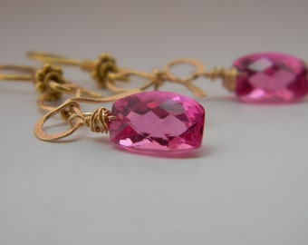 SALE. earrings. pink topaz. vermeil bows.