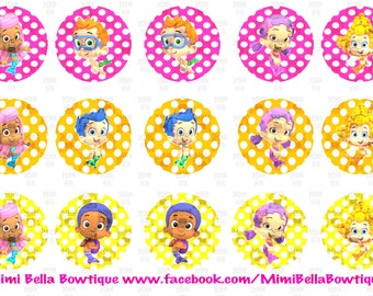 Bubble Guppies Bottle Cap Digital Images Molly, Gil, Deema, Nonny, Oona, Goby