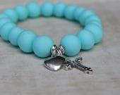 Cross My Heart - Polymer Clay Bracelet in Mint