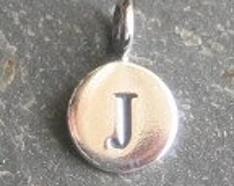 solid STERLING silver letter J round alphabet charm , personalise your jewellery with quality letters