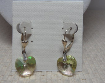 Swarovski Crystal Heart 14mm Sterling Silver Earrings