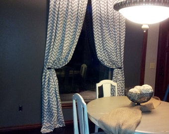 Lined Gray Zig Zag Curtains Premier Prints