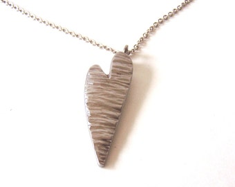 Heart Pendant and Necklace Made From Upcycled Stainless Steel Metal