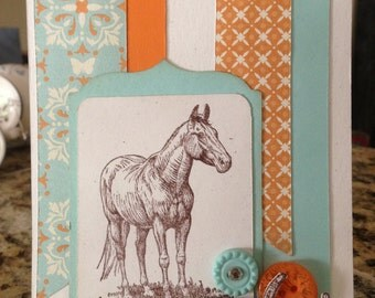 classy country horse greeting card