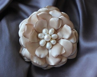 Éternité Wedding Collection- Champagne Satin Flower with Freshwater Pearl Center