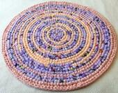 Round hand crochet, rag rug, lavender, peach, 28.5 inch diameter, colorful