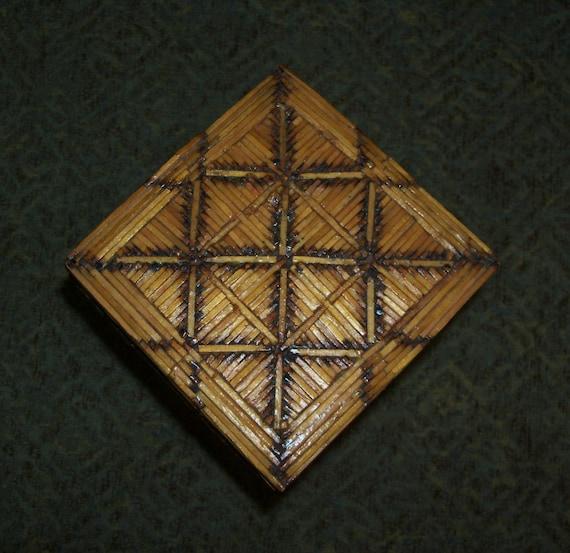 Items Similar To Folk Art Matchstick Tall Box Diagonal