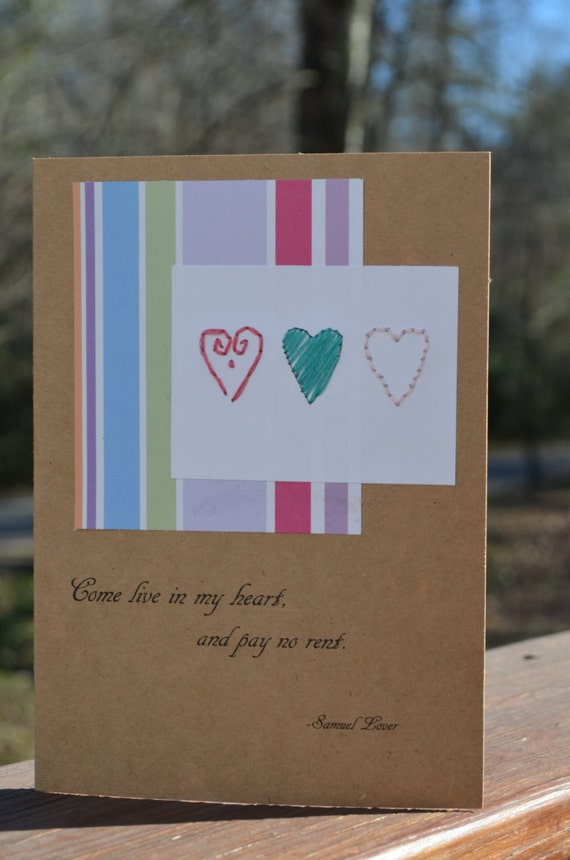 "Valentine Card // Embroidered Hearts Greeting Card ""Come Live in My Heart and Pay No Rent"""