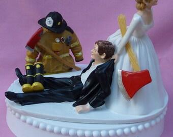 Wedding Cake Topper Fireman Firefighter Fire Uniform Boots Axe Groom Themed w/ Bridal Garter Humorous Bride Reception Centerpiece Item Funny